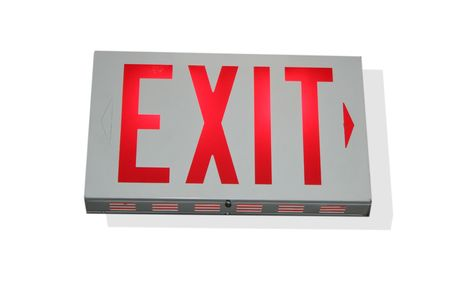 An exit sign pointing to the right Imagens