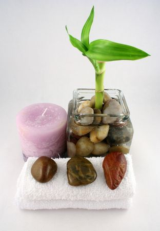 A bamboo plant, a candle, some stones and a towel