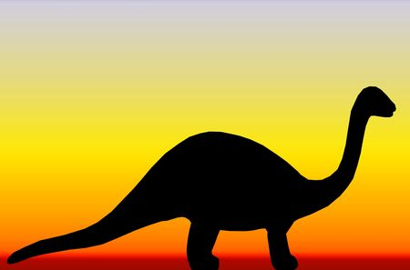A dinosaur silhouette against a blue, orange and yellow background