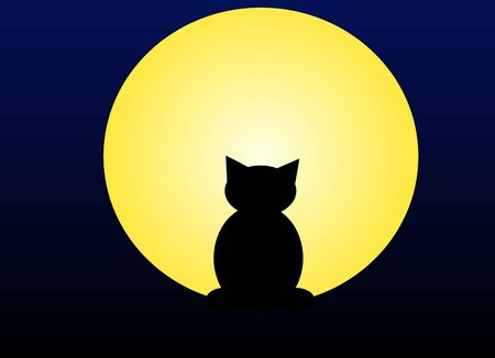 lonesome: An illustration of a cat and a moon Stock Photo