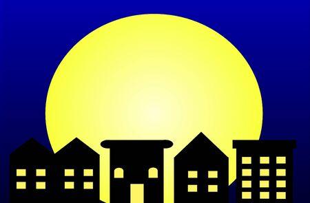 Een illustratie van een rij huizen in het maanlicht