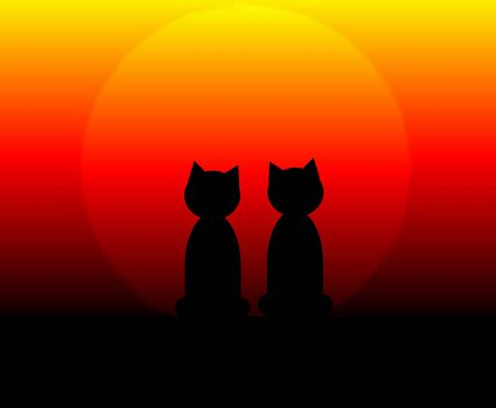 An illustration of two cats at sunset Фото со стока