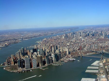 appropriate: Appears the curvature of the planet is visible, while still close enough for detail. Makes the island appear larger than it is. Then again, Manhattan is a big place so perhaps the effect is appropriate.     This shot has sold over 90 times online. Stock Photo