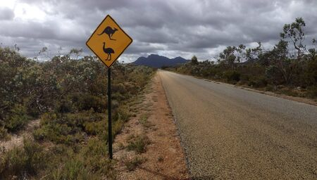 ranges: Stirling ranges road sign panorama Stock Photo