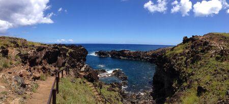 rapa nui: Anakai cueva tangata rapa nui Pascua panorama isla Foto de archivo