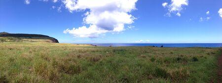 rapa: Landscape rapa nui easter island panorama Stock Photo