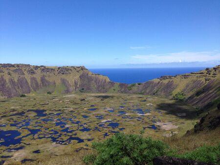 rapa: Rano kau volcano Rapa Nui Easter Island Stock Photo