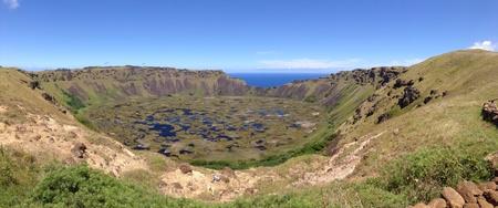 rapa nui: Rano kau volc�n Rapa Nui Isla de Pascua panorama