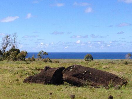 rapa: Rano raraku Rapa Nui Easter Island panorama Stock Photo