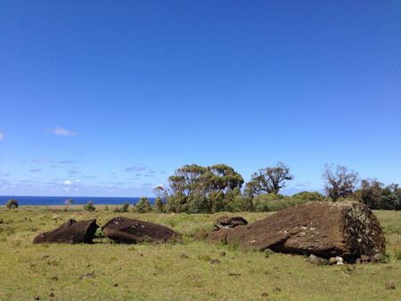 rapa nui: Rano Raraku Rapa Nui Isla de Pascua panorama
