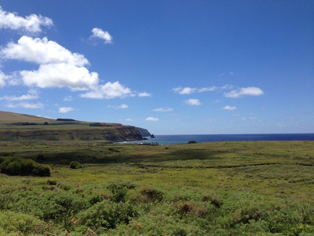 rapa nui: Ahu Tongariki Rano Raraku Rapa Nui Isla de Pascua Foto de archivo