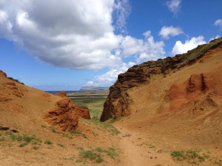 rapa: Landscape Rano raraku Rapa Nui Easter Island