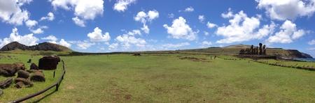 rapa: Panorama Ahu tongariki Rapa Nui Easter Island Stock Photo