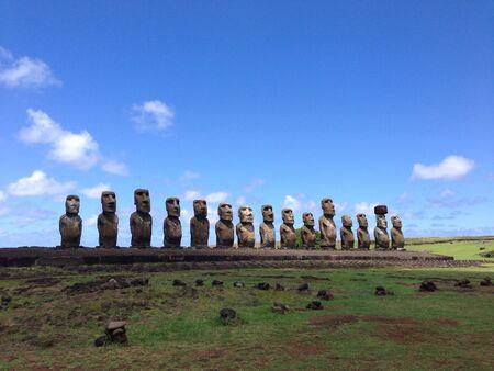 rapa: Ahu tongariki Rapa Nui Easter Island Stock Photo