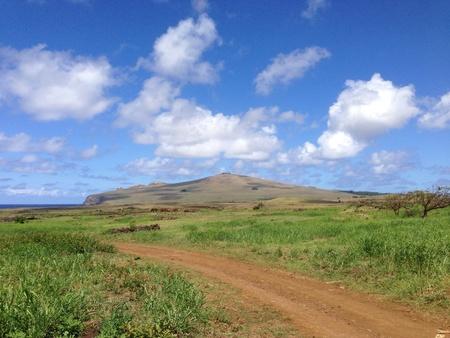 rapa nui: Paisaje Rapa Nui Isla de Pascua Foto de archivo