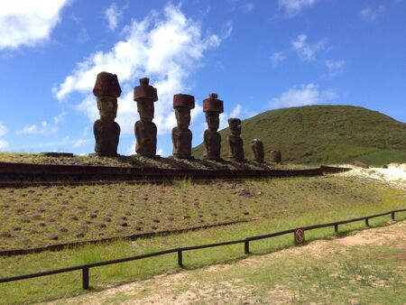 rapa nui: Playa de Anakena Rapa Nui Isla de Pascua Foto de archivo