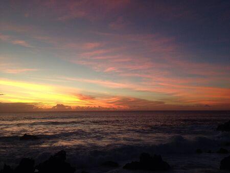 rapa nui: Sunset Rapa Nui Isla de Pascua Foto de archivo