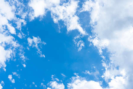 Stunning view of a blue sky with some fluffy clouds. Aerial shoot, natural background with copy space.
