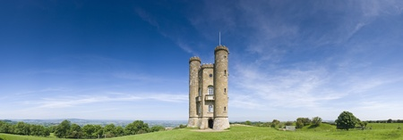 broadway tower: Broadway Tower Gothic folly built in 1799 overlooking idyllic rural views in the Cotswolds. Perspective corrected stitched panorama, detailed when viewed large. Stock Photo