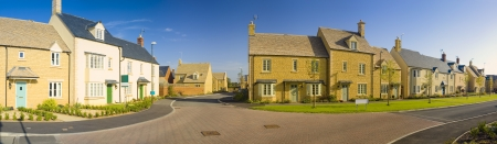 detached houses: Street view of newly built homes. Stock Photo