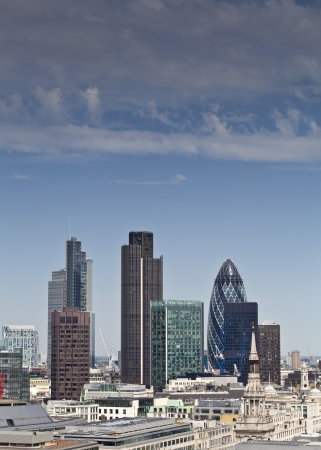 Clear blue sky panoramic of the iconic and varied skyscrapers in the financial district of London  View includes