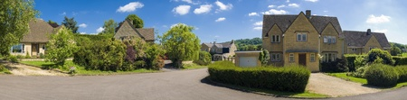 detached houses: Traditional style houses, street view. Stitched panoramic image. Editorial