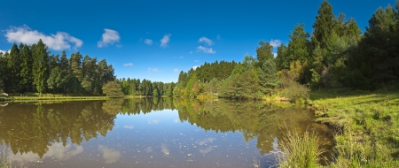 dean: Clear blue sky and calm lake waters reflecting the pretty greenery of the Cotswold countryside  Stitched panoramic image detailed when viewed large