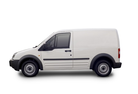 Blank white van ready for branding with clipping paths.