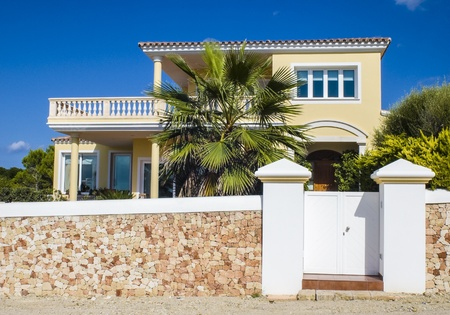 spanish house: Holiday villas on a hot summers day.