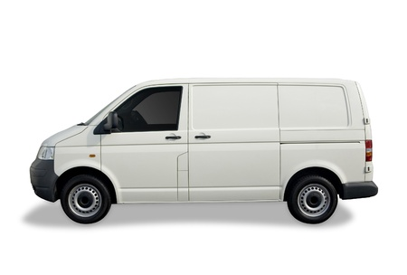 Blank white van ready for branding with clipping paths. photo