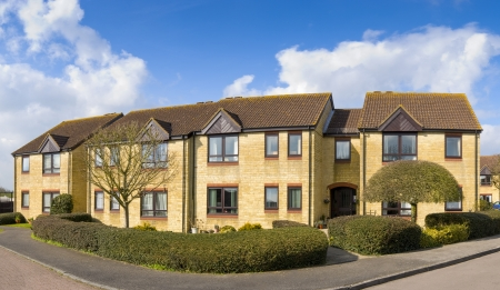 Modern apartments on newly built estate. Stitched panoramic image.