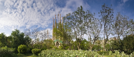 funded: Sagrada Familia. Antoni Gaudi dedicated his final forty years to the neogothic cathedral, partially completed in 1926, it is now funded by visitors donations. Perspective corrected panorama, detailed when viewed large. Editorial