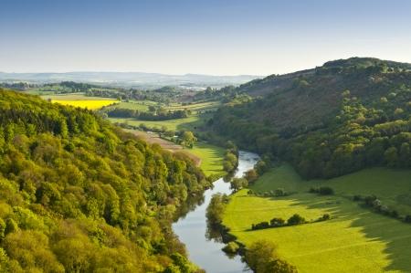 蛇行ワイ川初期日差しで緑豊かな緑の田園農地を介してその方法を作るします。