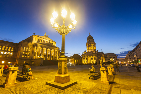 reside: Picturesque Gendarmenmarkt paved Neoclassical square popular with both Berliners and tourists. The Deutscher (1785) and the Franzosischer Dom (1701) reside in this beautiful area of Berlin.