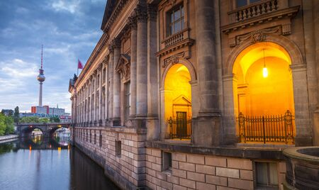 bode: Pretty night time illuminations of the Bode Museum (1904) which is part of the complex of museums that make up Museum Island in Berlin, Germany.