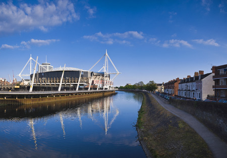 cardiff: River Taff meandering past the Millennium sports stadium in Cardiff.