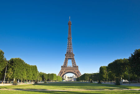 Iconic Eiffel Tower (1889) symbol of Paris and Champ-De-Mars park.