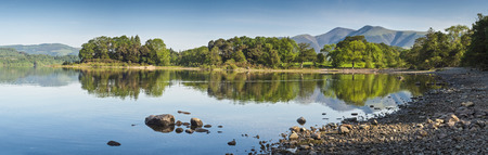 Summer woodland at Derwent Water with dramatic Latrigg mountain backdrop in the beautiful English Lake District  Stitched panoramic image detailed when viewed large  photo