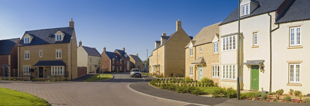 Street view of newly built homes. Stock Photo