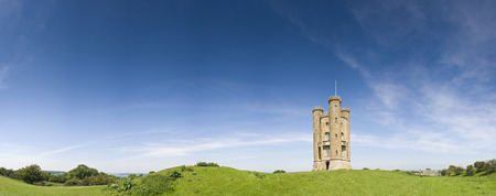 broadway tower: Broadway Tower Gothic folly built in 1799 overlooking idyllic rural views in the Cotswolds. Perspective corrected stitched panorama, detailed when viewed large. Editorial