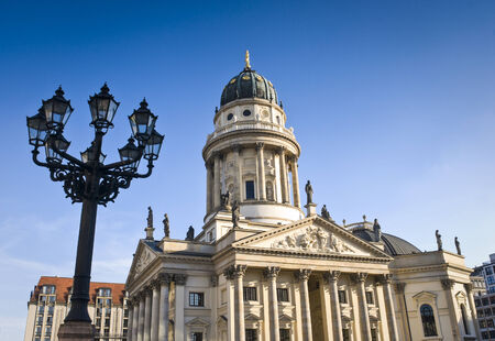 reside: Picturesque paved Neoclassical square popular with both Berliners and tourists. The Deutscher (1785) and the Franzosischer Dom (1701) reside in this beautiful area of Berlin.