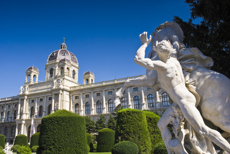 Kunsthistorisches  Fine Art  Museum, pretty garden and renaissance statute  1891  in the beautiful city of Vienna, Austria