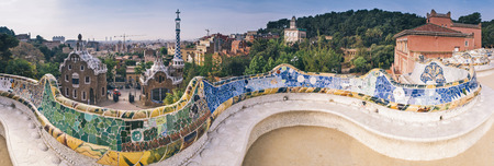 barcelona city: Parc Guell public garden overlooking Barcelona, designed and built by Guadi and Josep Jujol in 1914.