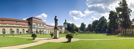 schloss: Exemplary Prussian baroque and rococo architecture of Schloss Charlottenburg Palace in Berlin, built in 1695. Perspective corrected stitched panorama detailed when viewed large.