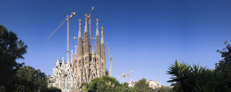 barcelona cathedral: Sagrada Familia. Antoni Gaudi dedicated his final forty years to the neogothic cathedral, partially completed in 1926, it is now funded by visitors donations. Perspective corrected panorama, detailed when viewed large. Editorial