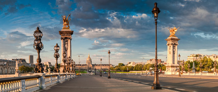 champs elysees quarter: Stunning Pont Alexandre III bridge (1896) spanning the river Seine. Decorated with ornate Art Nouveau lamps and sculptures it is the most extravagant bridge in Paris.
