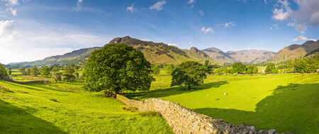 Mountains and meadows in Cumbria, Uk  Stock Photo