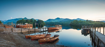 Derwent Water and dramatic mountain backdrop, Lake District, UK.