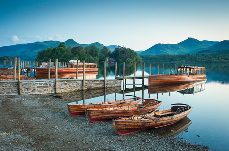 borrowdale: Derwent Water and dramatic mountain backdrop, Lake District, UK.
