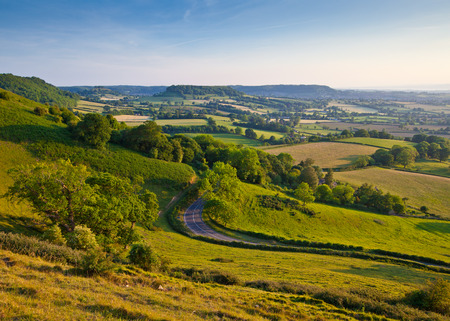 Idyllic rural view of pretty farmland and healthy livestock, in the beautiful surroundings of the Cotswolds, England, UK. photo